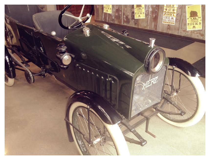 American Pickers tv show=If you caught last night's new episode you will recognize this beauty! We are so proud to have the incredibly rare, 1914 Merz Cycle Car, here in the new shop on display. It is such an amazing piece of automotive and motorcycle history!