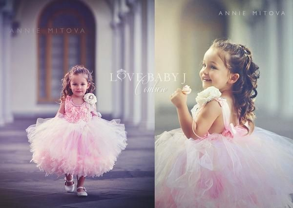 "Take a look at Love Baby J's fun couture feather tutu flower girl dress called ""Pretty Little Things."""