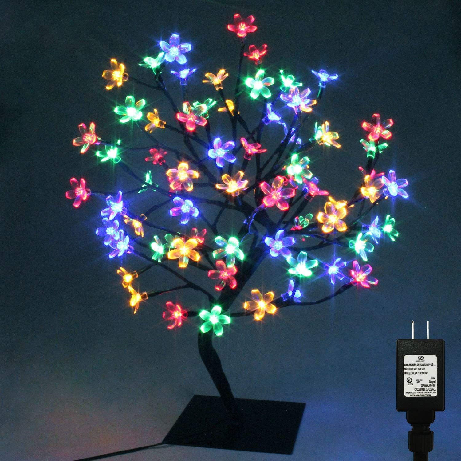 Pms 17inch 72 Leds Cherry Blossom Desk Top Bonsai Tree Light With Low Voltage Transformer Ul Listed Idea Christmas Tree Fairy Bonsai Tree Cherry Blossom Tree