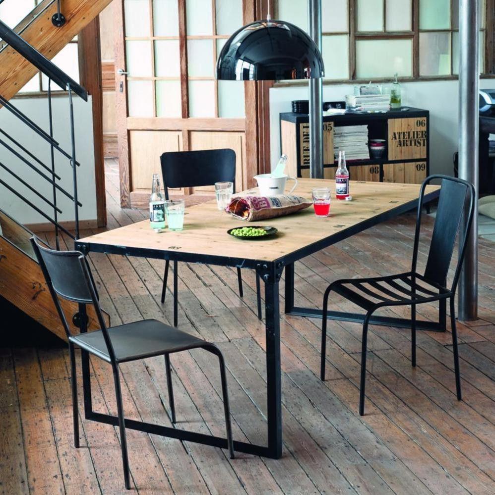 Esstisch im IndustrialStil aus Tannenholz und Metall, 8