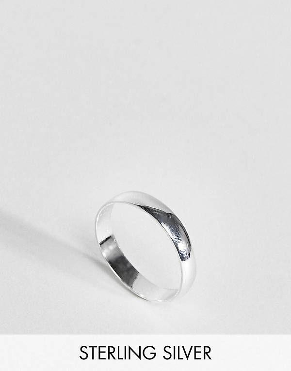Asos DESIGN sterling silver sleek thick band ring - Silver aPHAJsxZAl