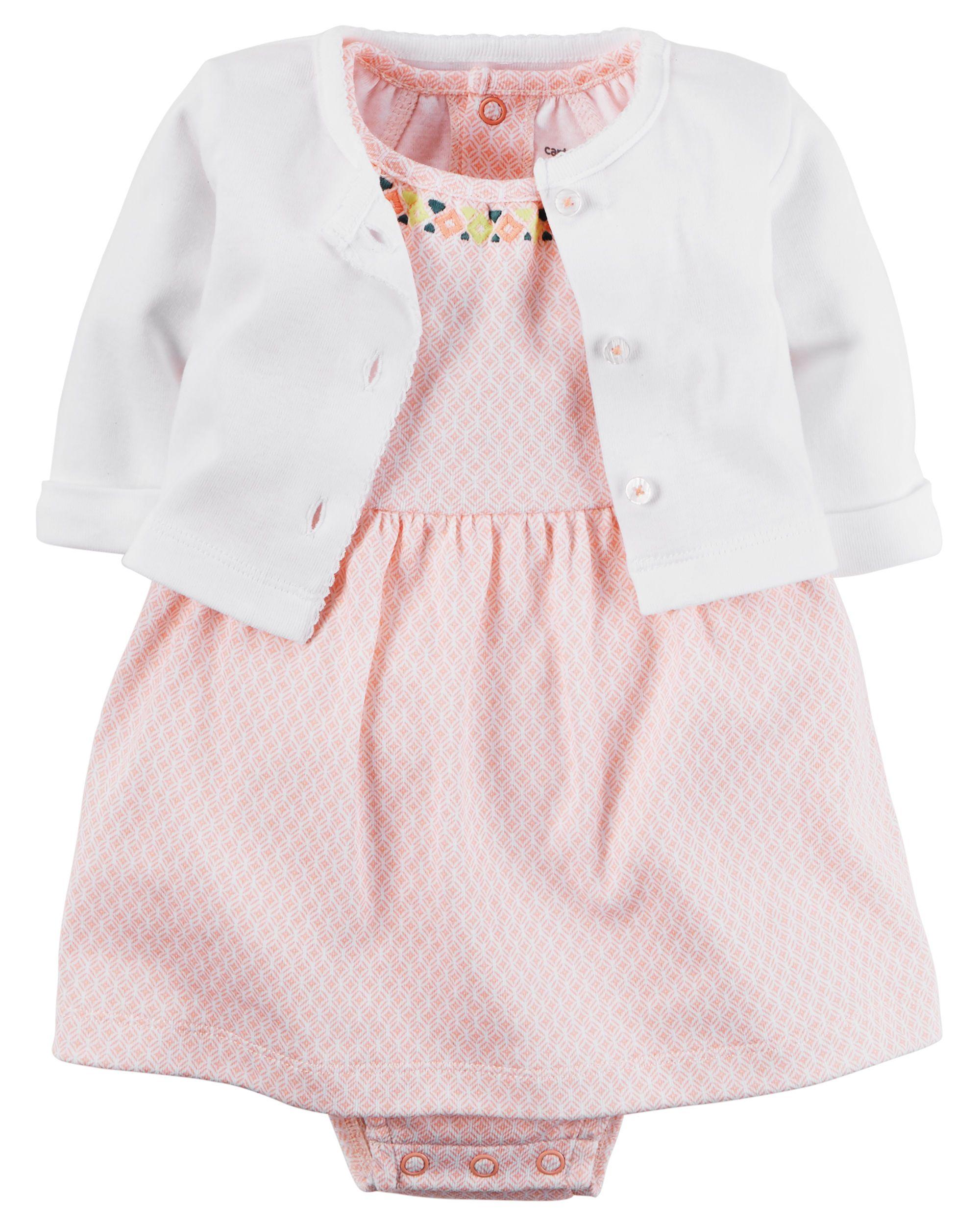 2 Piece Babysoft Bodysuit Dress & Cardigan Set
