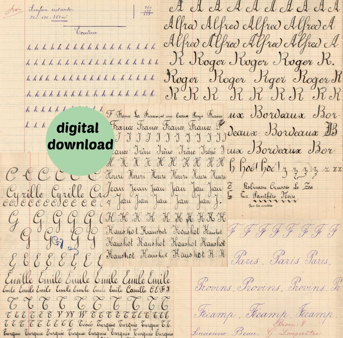 Printable Cursive Letters Handwriting Drills French School Pages