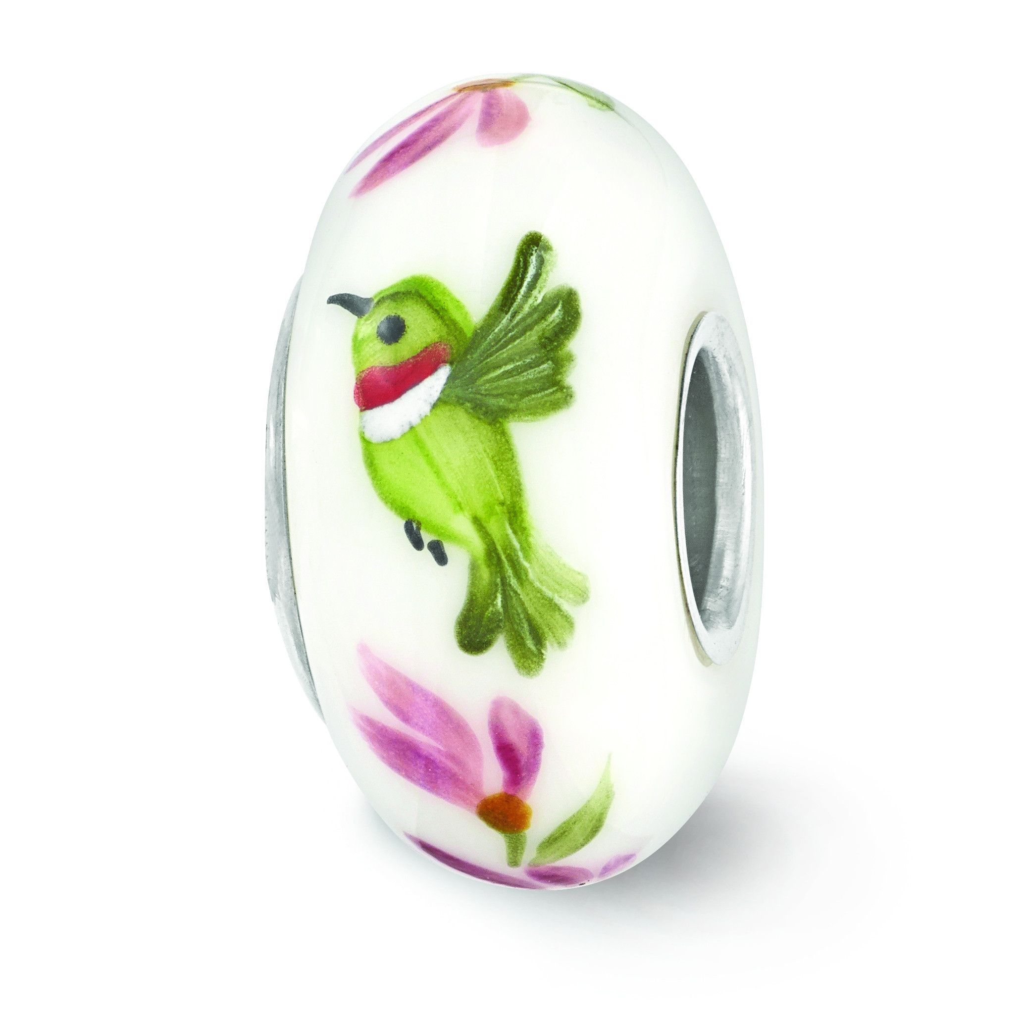 Sterling Silver Reflections White Hand Painted Hummingbird