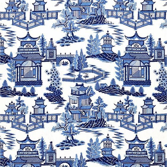 Blue And White Monday Fabric
