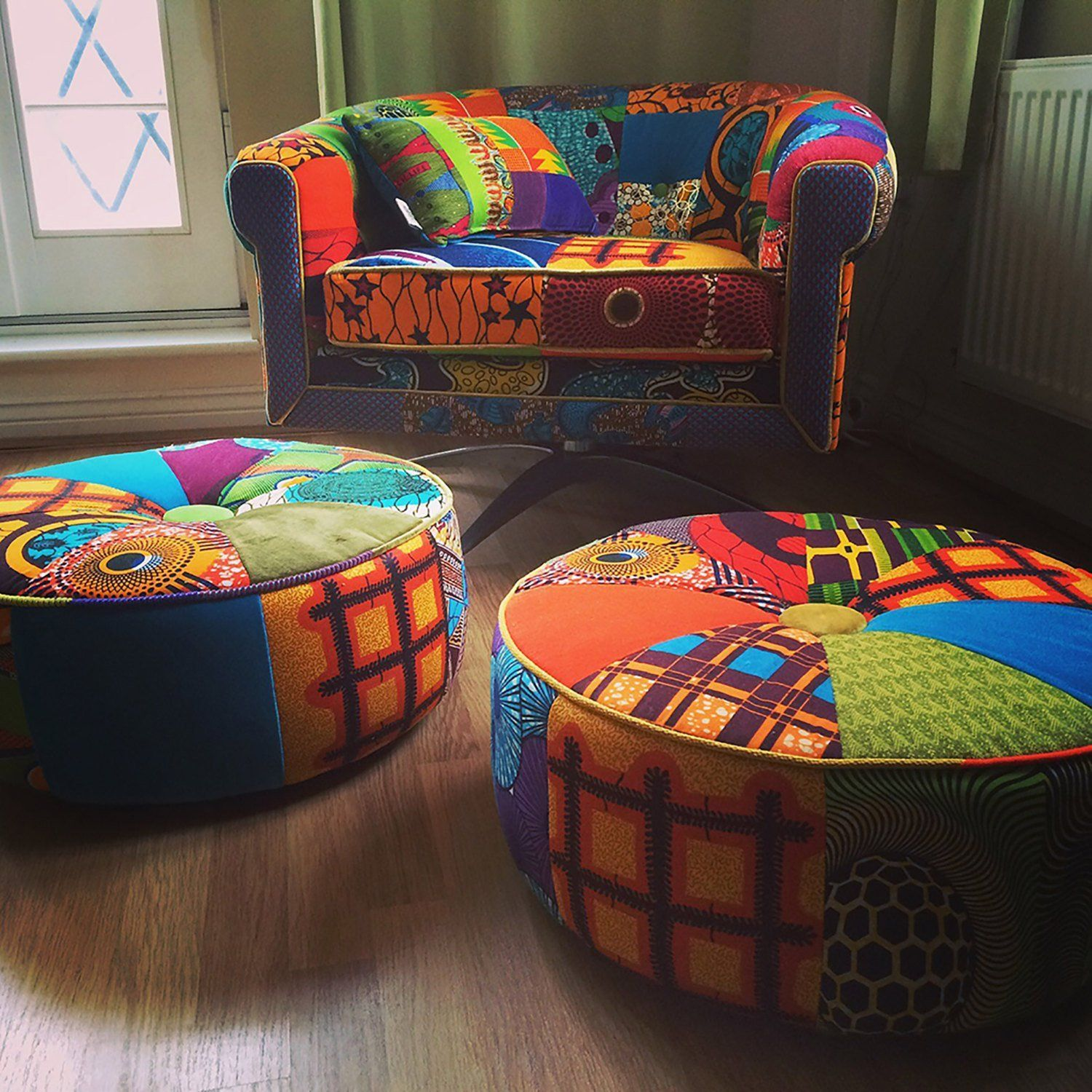 Afrotechnicolour Waxblockprint Mid 20th century Modern chair Upholstered by Ray Clarke -  Afrotechn