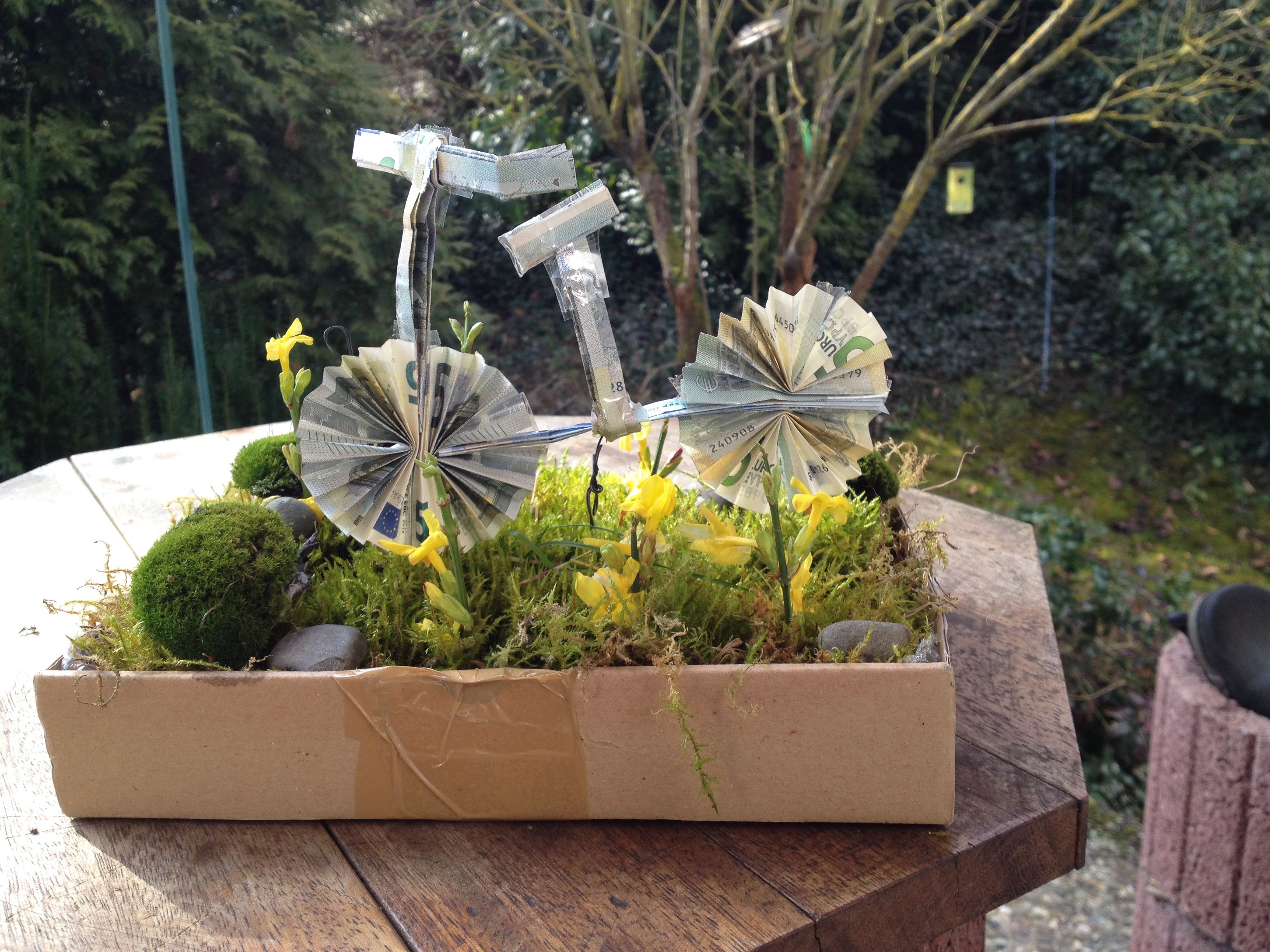 Fahrrad aus geldscheinen gefaltet die anleitung zum for Idee geschenk garten