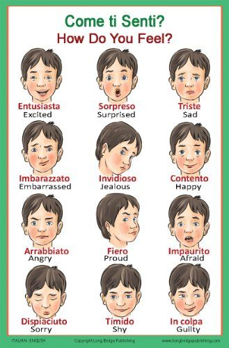 Italian Language School Poster: Italian Words About Feelings with English Translation