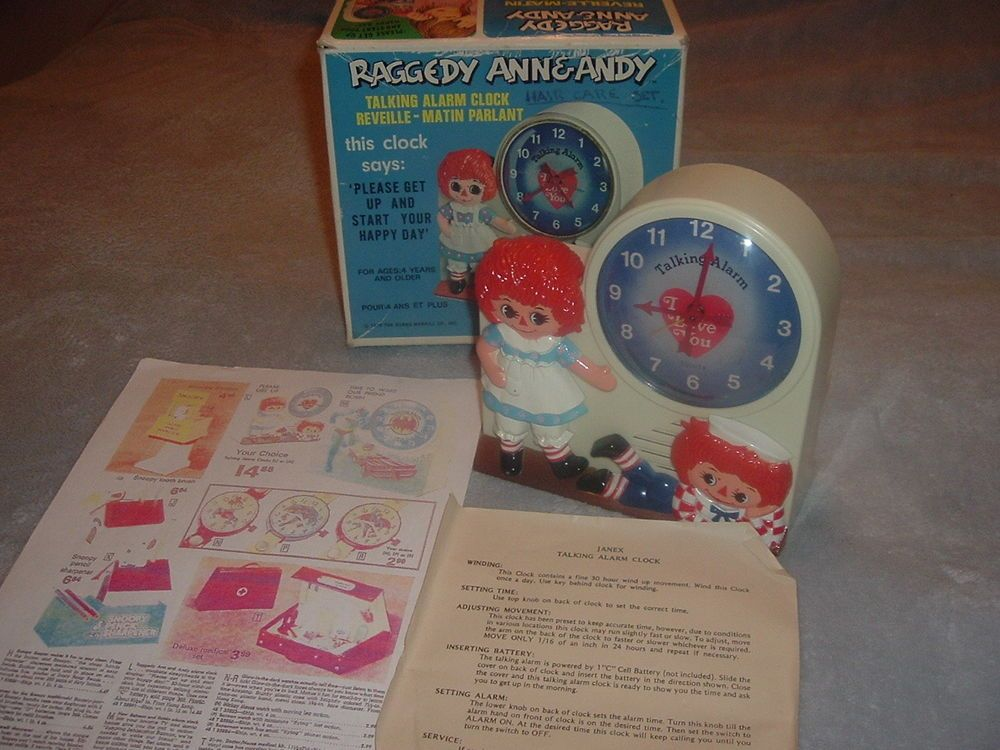 Original 1974 Raggedy Ann Andy Janex Wind-Up Talking Alarm Clock w/box,Works!