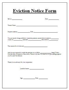 Blank Eviction Notice Form | Free Word Templates - Tenant Eviction
