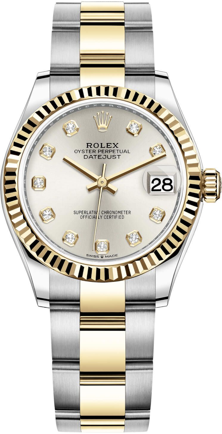 Rolex Datejust 31mm Stainless Steel and Yellow Gold 278273 Silver Diamond Oyster #stainlesssteelrolex