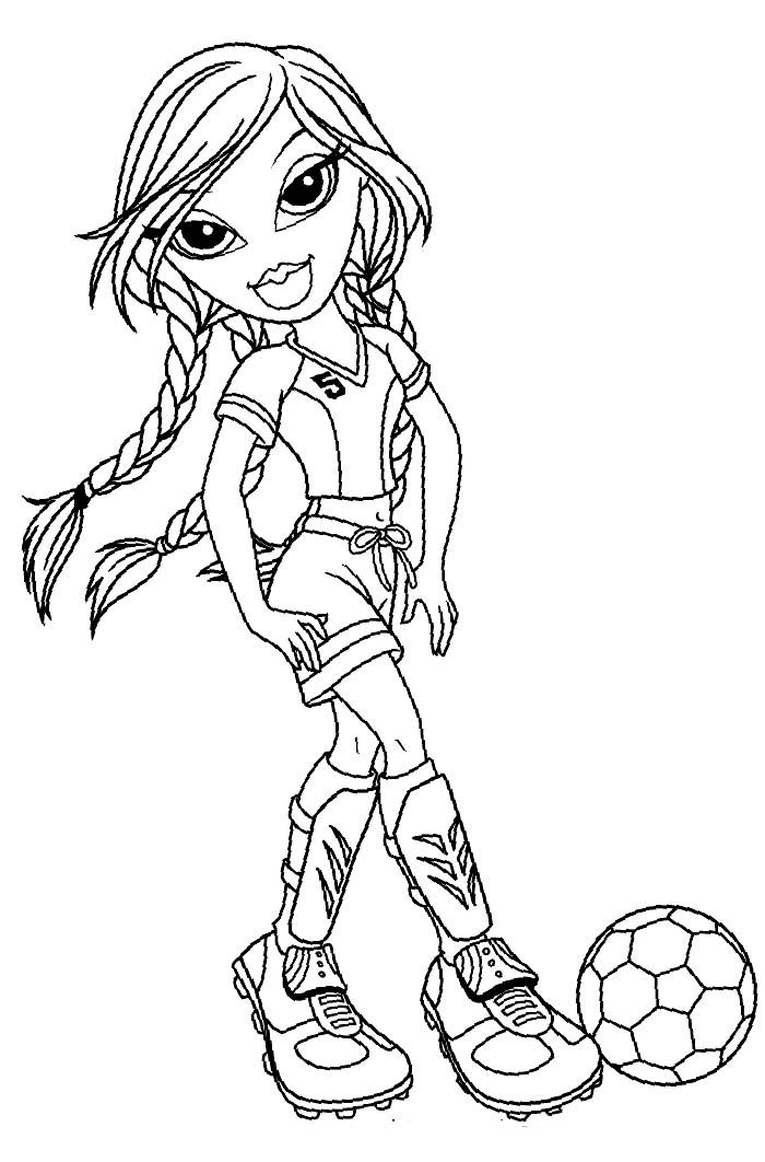 Jade Bratz Playing Football Coloring Pages