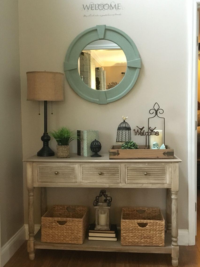 Foyer makeover table mirror booksgreen sphere bird