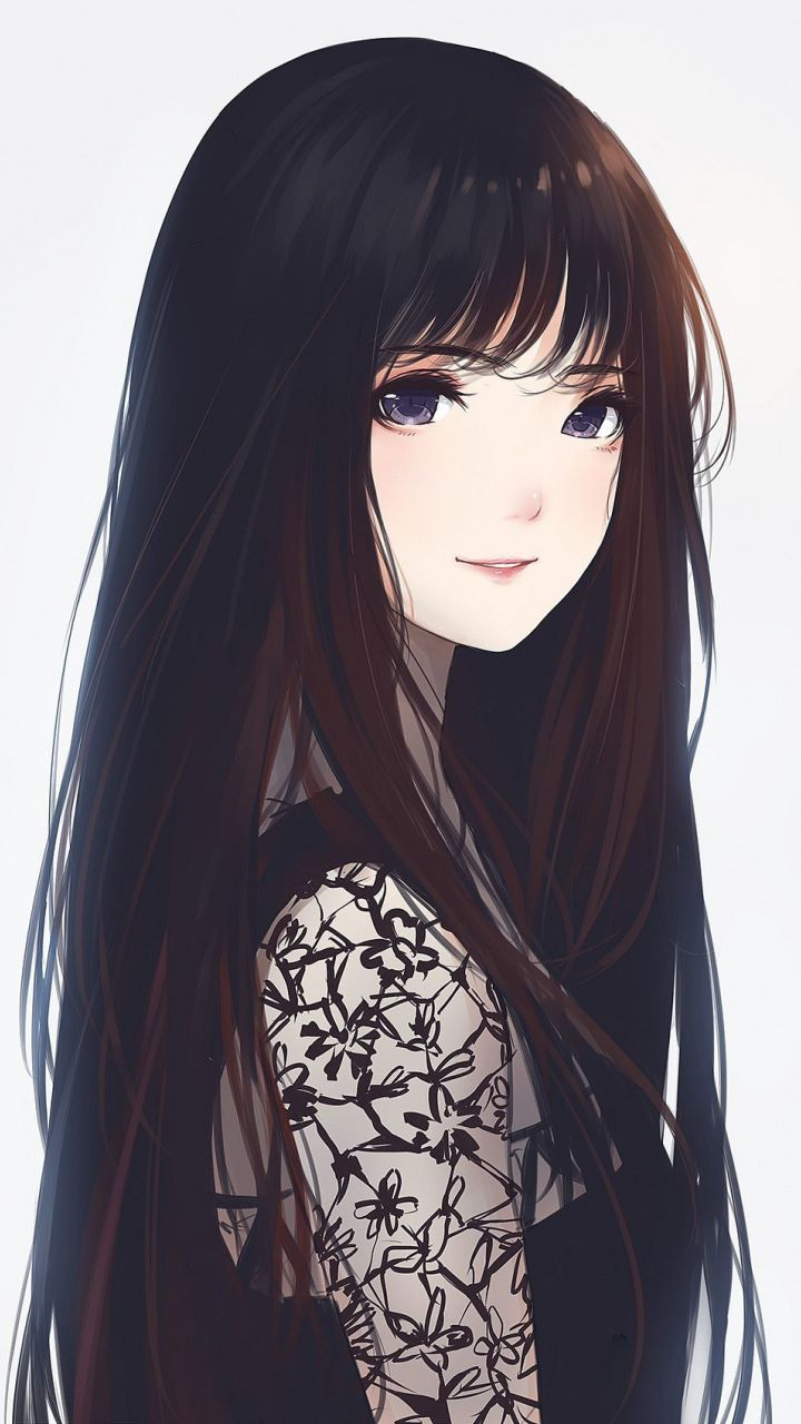 Anime girl with long black hair