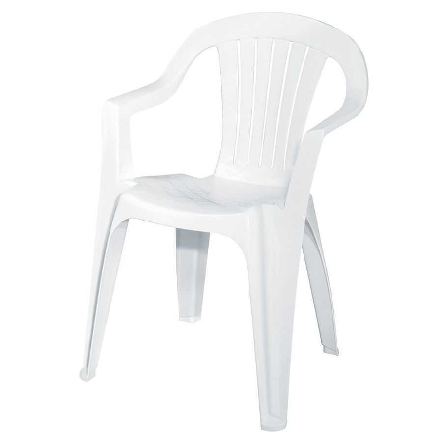 Superior Adams Mfg Corp White Resin Stackable Patio Dining Chair