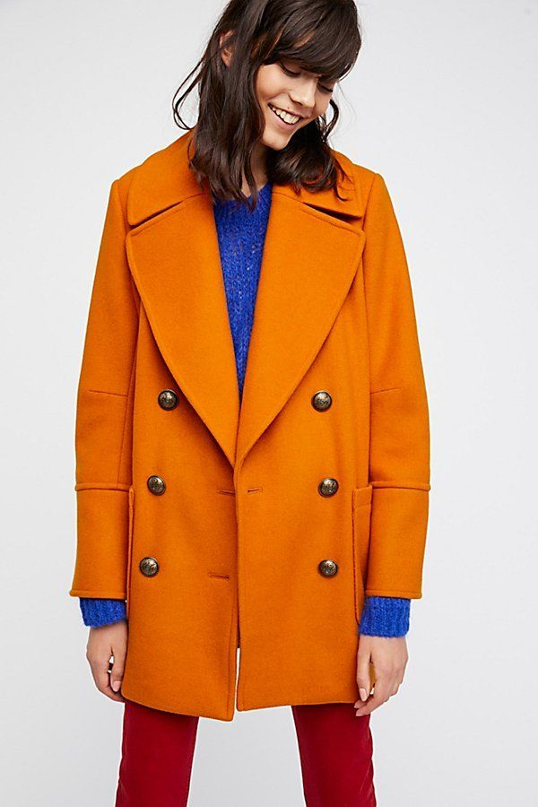 Naiomi Solid Wool Peacoat | Free People