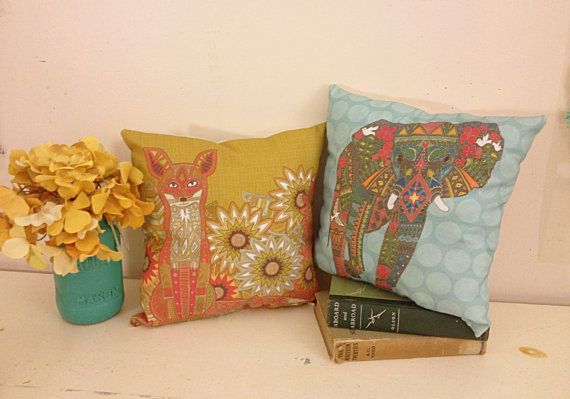 Decorative Throw Pillows Boho Chic Fox by AlchemyHomeDecor on Etsy
