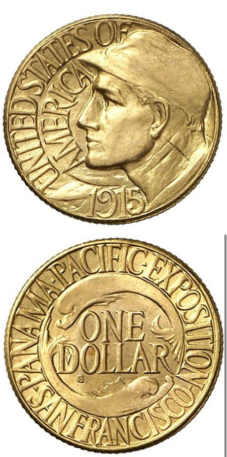 N T 1 Dollar 1915 S San Francisco Panama Pacific Exposition In 67 G Gold