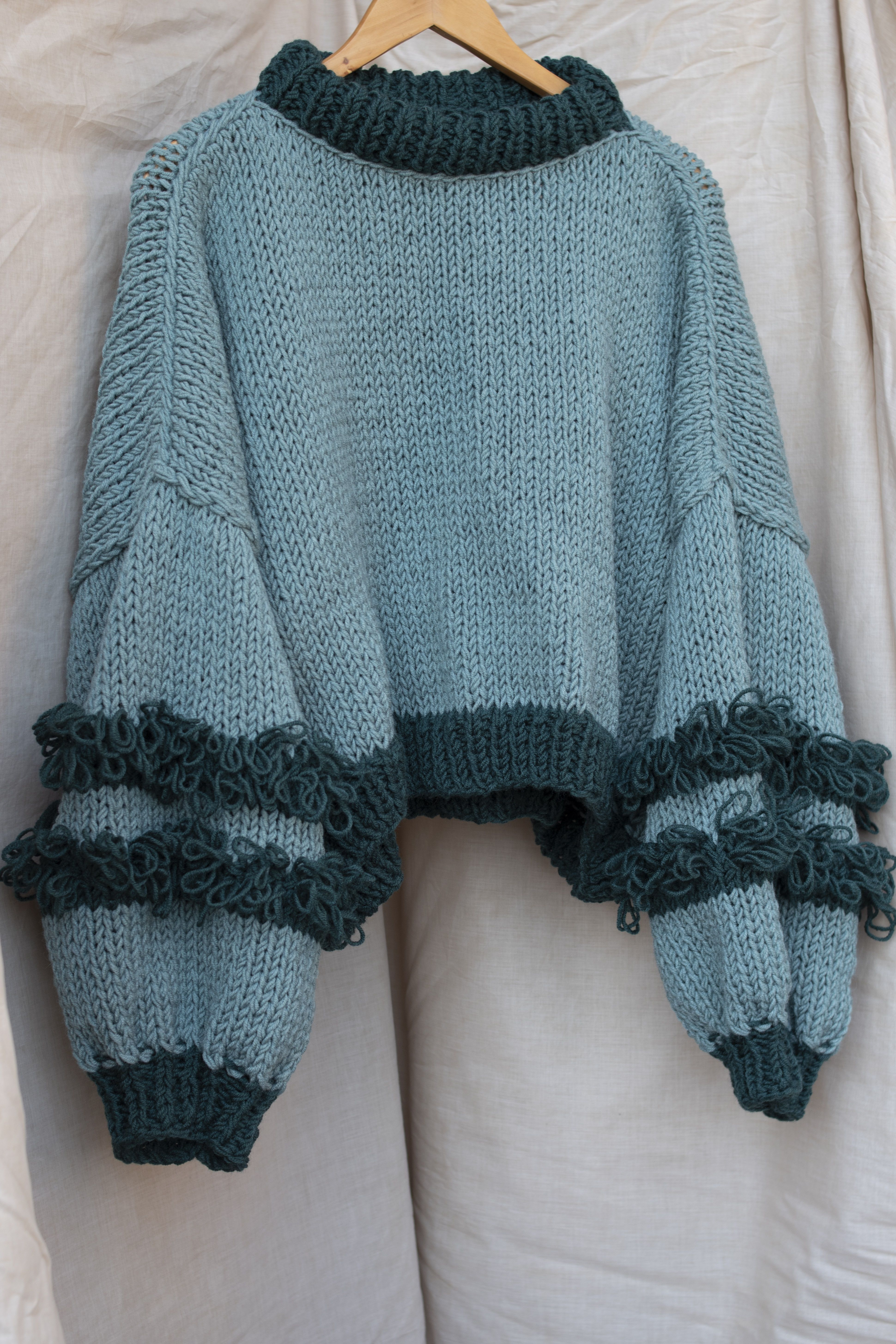 Hand Knit Chunky Sweater With Loopy Detailing Oversize Etsy Hand Knitted Sweaters Knit Fashion Shaggy Sweater
