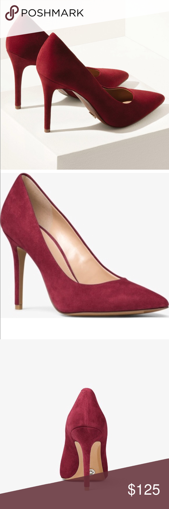 Michael Kors Claire Suede Pumps Cherry red suede pumps - brand new, never worn Michael Kors Shoes Heels