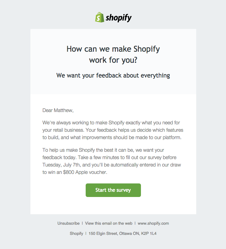 Shopify Sent This Email With The Subject Line Matthew We Want To
