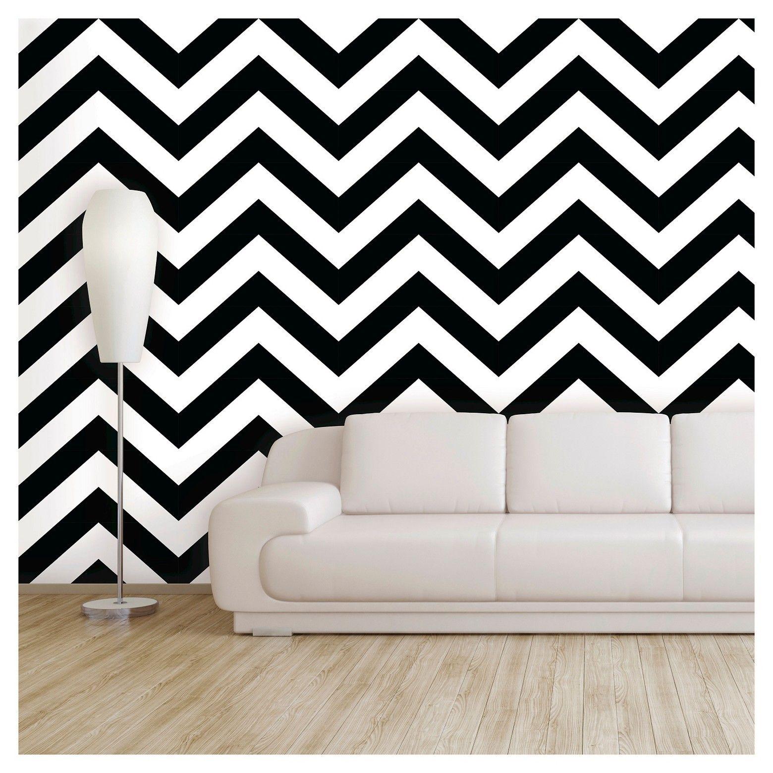Devine Color Zig Zag Peel Stick Wallpaper Black White Peel And Stick Wallpaper Zig Zag Wall Wallpaper