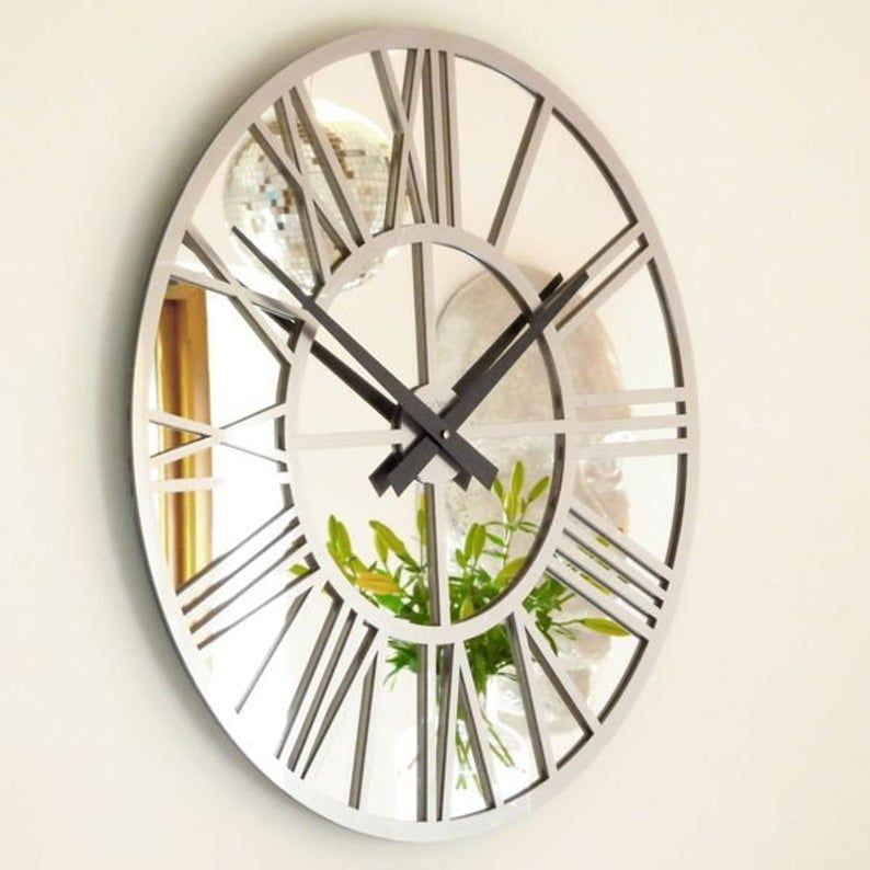 Roco Verre Gloss Acrylic And Mirror Skeleton Wall Clock Etsy In 2020 Mirror Wall Clock Silver Wall Clock Living Room Clocks