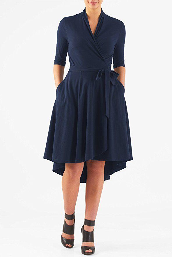 eShakti Women's High-low hem cotton knit wrap dress 6X-36W Short Symphony blue ** Buy now: http://amzn.to/2hVTRlA