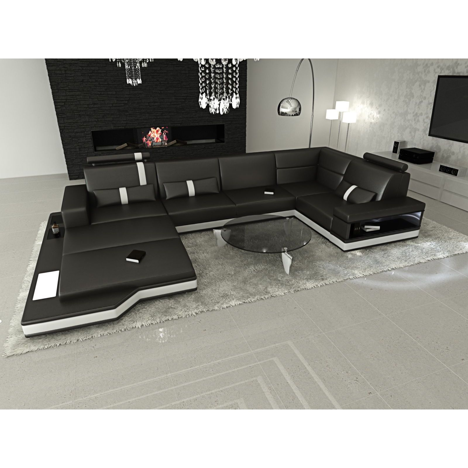 Design Modern Los Angeles Black U Shaped Sectional Sofa