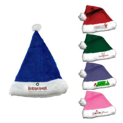 3a82e9cd1d9d3 Custom Printed Plush Santa Hats  Available Colors  Blue