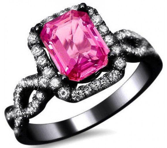 205ct Emerald Cut Pink Sapphire Diamond Ring 18k Black Gold