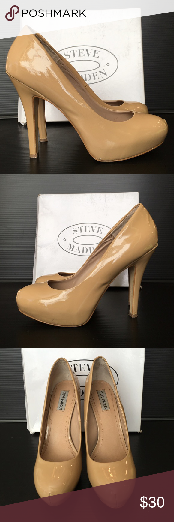 Steve Madden Nude Patent Leather Platform Pumps Beautiful nude patent leather with hidden platform and approx 5 inch heel. This nude  platform is the perfect heel to elongate your legs. Box included. Steve Madden Shoes Platforms