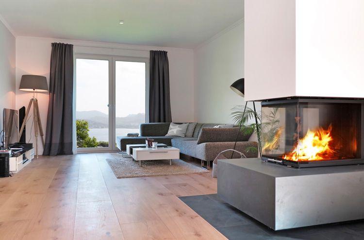 Openhaard In Woonkamer : Minimalistisch houten vloer openhaard woonkamer pinterest