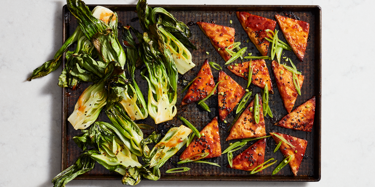 This Tasty Tofu Sheet Pan Recipe Is Proof That Going Meatless Can Be Delicious Recipe Bok Choy Recipes Bock Choy Recipes Tofu
