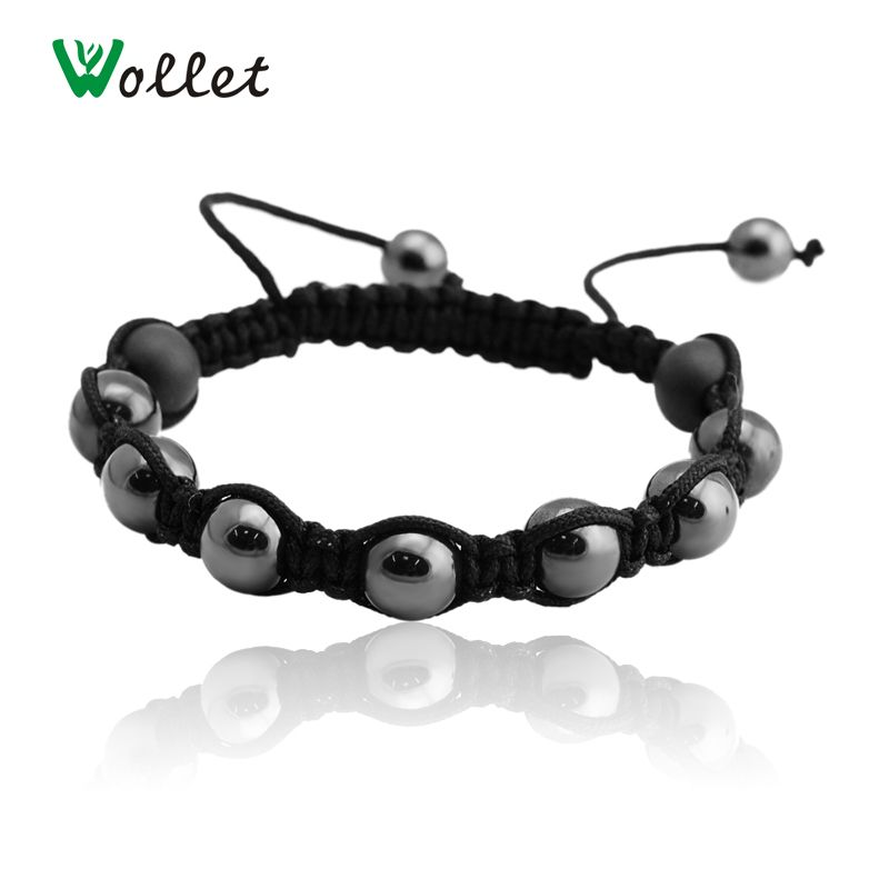 Click To Fashion Magnetic Hemae Beads Bracelet For Men Black Round