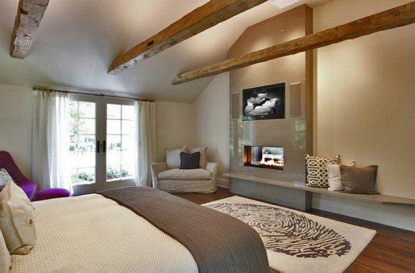 Fernseher rustikal warm schlafzimmer Kamin beige wand Wohnzimmer - wohnzimmer beige wand