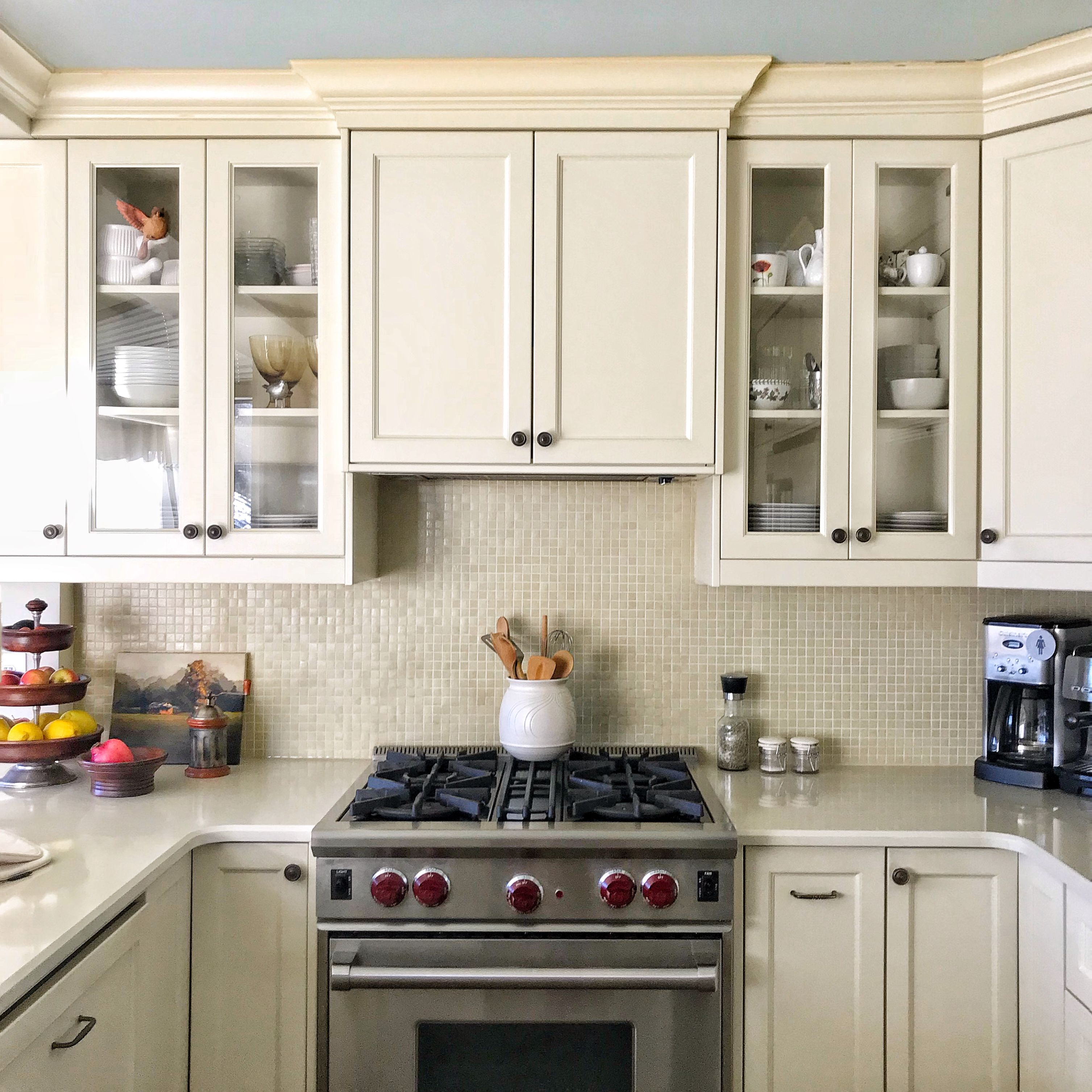 Small Kitchen With Exhaust Fan Hidden Up Inside Cabinetry Rather