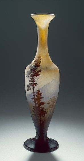 Émile Gallé | Vase with an Alpine Landscape Manufactory of Emile Galle, France, Nancy. Between 1907 and 1914.  Hermitage Museum.