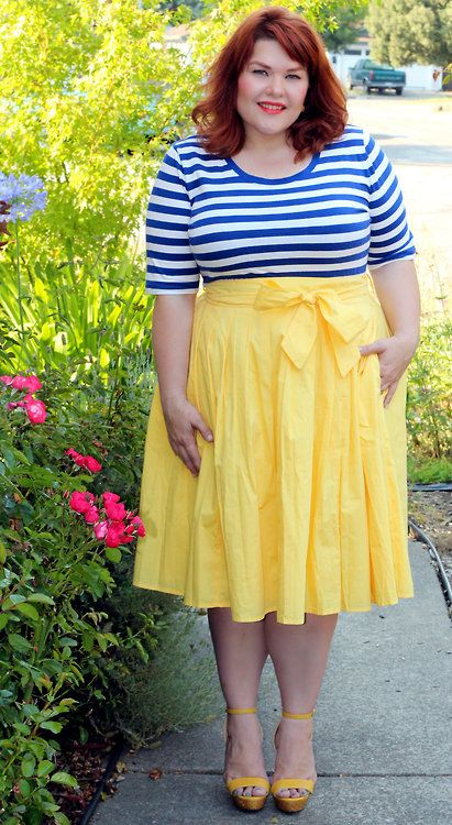 blue and white striped tee, pretty yellow skirt with bow | plus