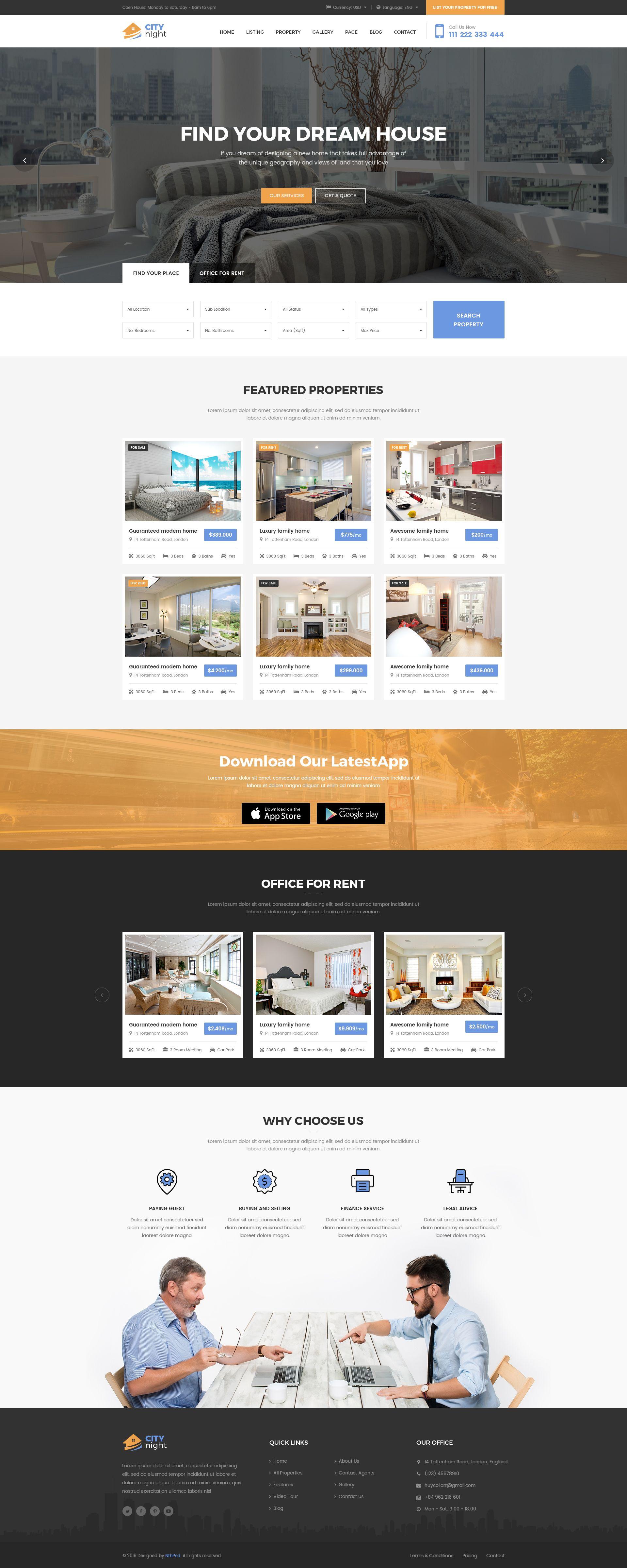 Citynight Real Estate Psd Template Real Estate Website Design Real Estate Marketing Real Estate Website