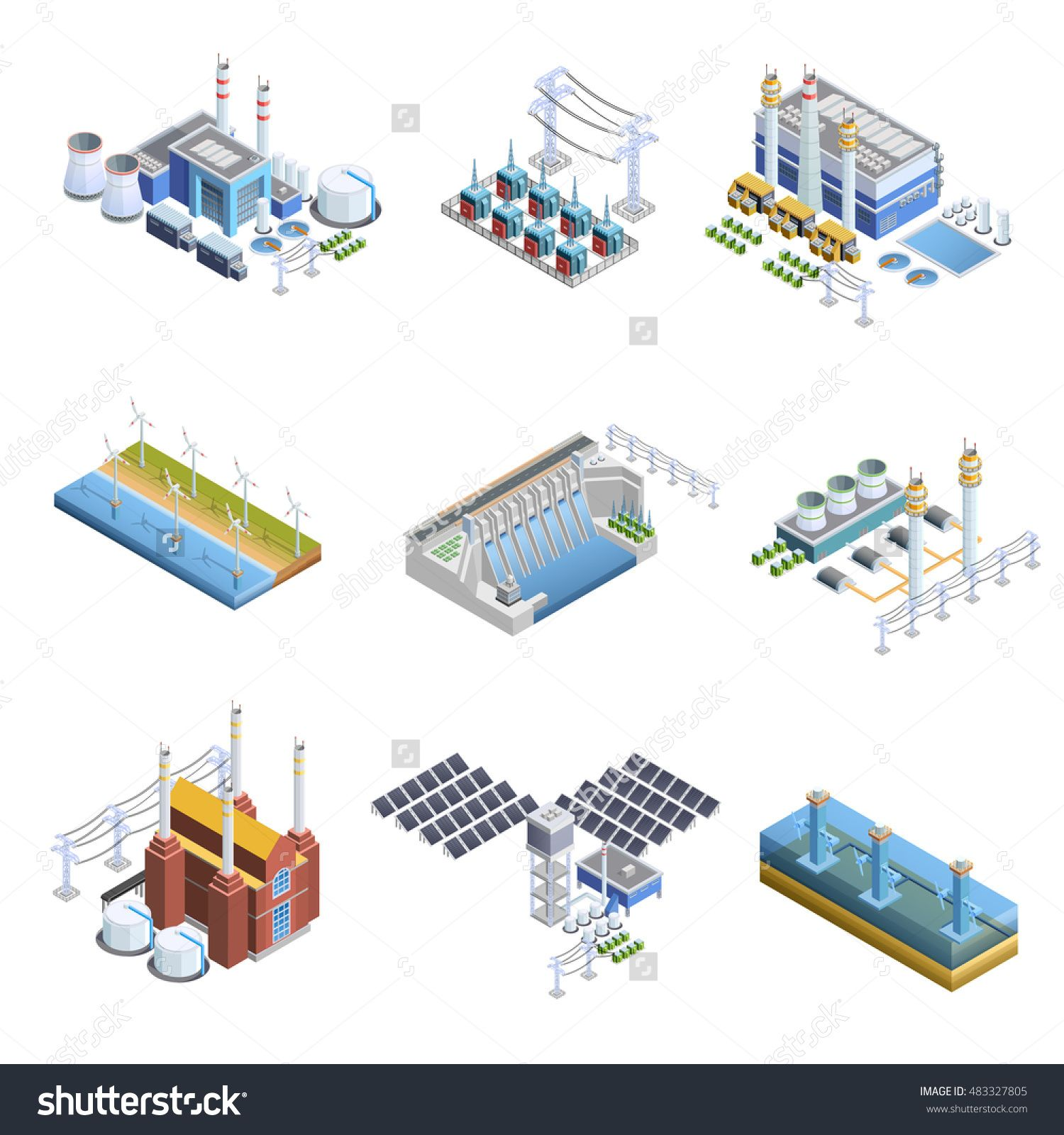 Isometric images set of different types of electricity generation