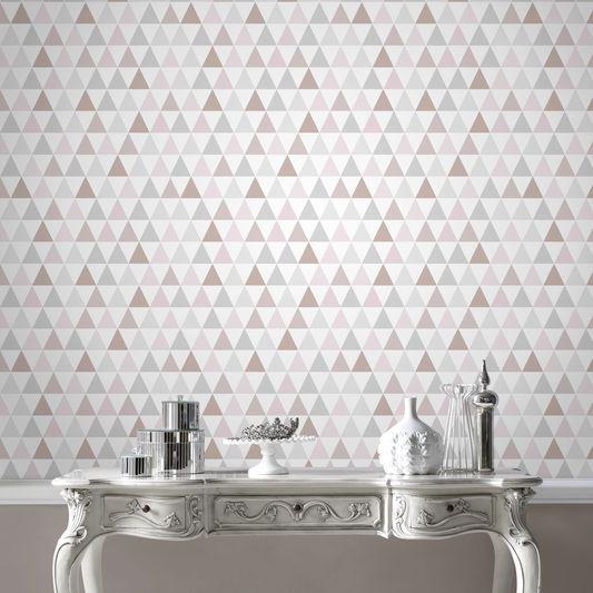 Tarek Rose Gold Wallpaper By Graham Brown Rose Gold Wallpaper Gold Wallpaper Bathroom Wallpaper Geometric