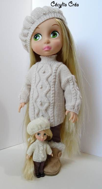 205. French and english knitting pattern PDF - Tunic and béret for doll Disney…