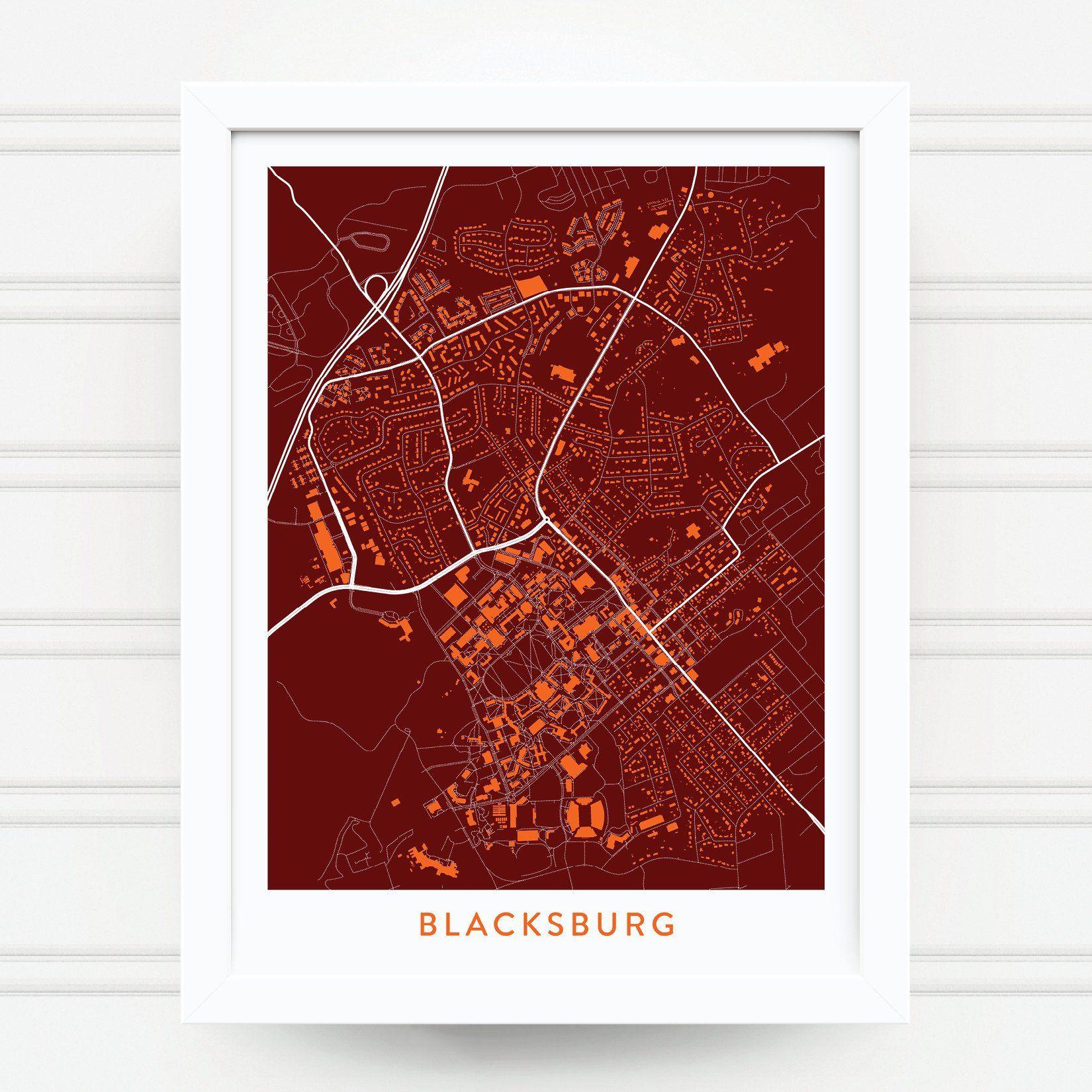 BLACKSBURG VA Map Print / Virginia Tech Gift / Virginia