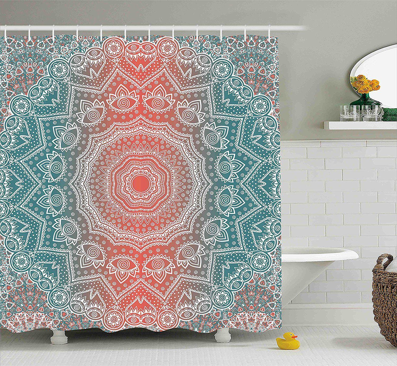 Coral Teal Boho Mandala Fabric Shower Curtain Boho Shower