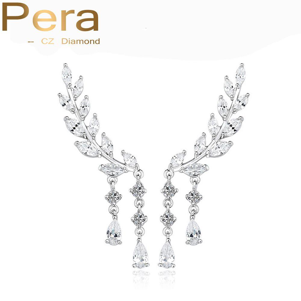 Pera Elegant Women Best Christmas Gift Jewelry Long Dangling Drop Cluster Cubic Zircon Crystal Ear Cuff Earrings For Ladies E068