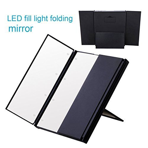 Scawing Portable Travel Mirror Tri-Fold Lighted Led Mirror Vanity Mirror Lighted Makeup Mirror with Removable Mirrors Pocket Mirror / Compact Mirror/3 Way Mirror - Black -- To view further for this item, visit the image link.