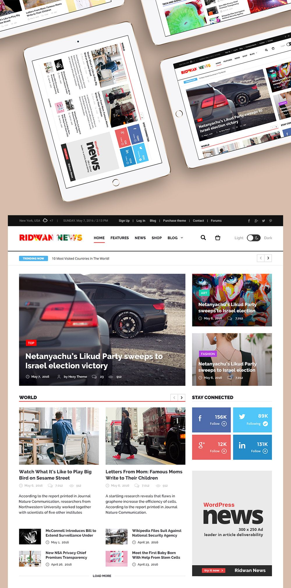 Perfect Awesome News Website Home Page Template Free PSD. Download News Website Home  Page Template Free