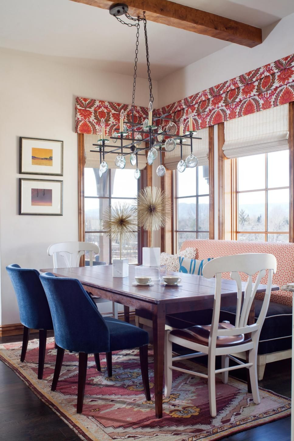 A Rustic Dark Wood Dining Table Sets Casual Tone In This Sunny Eclectic Room Plenty Of Comfy Seating Including Graphic Red And White