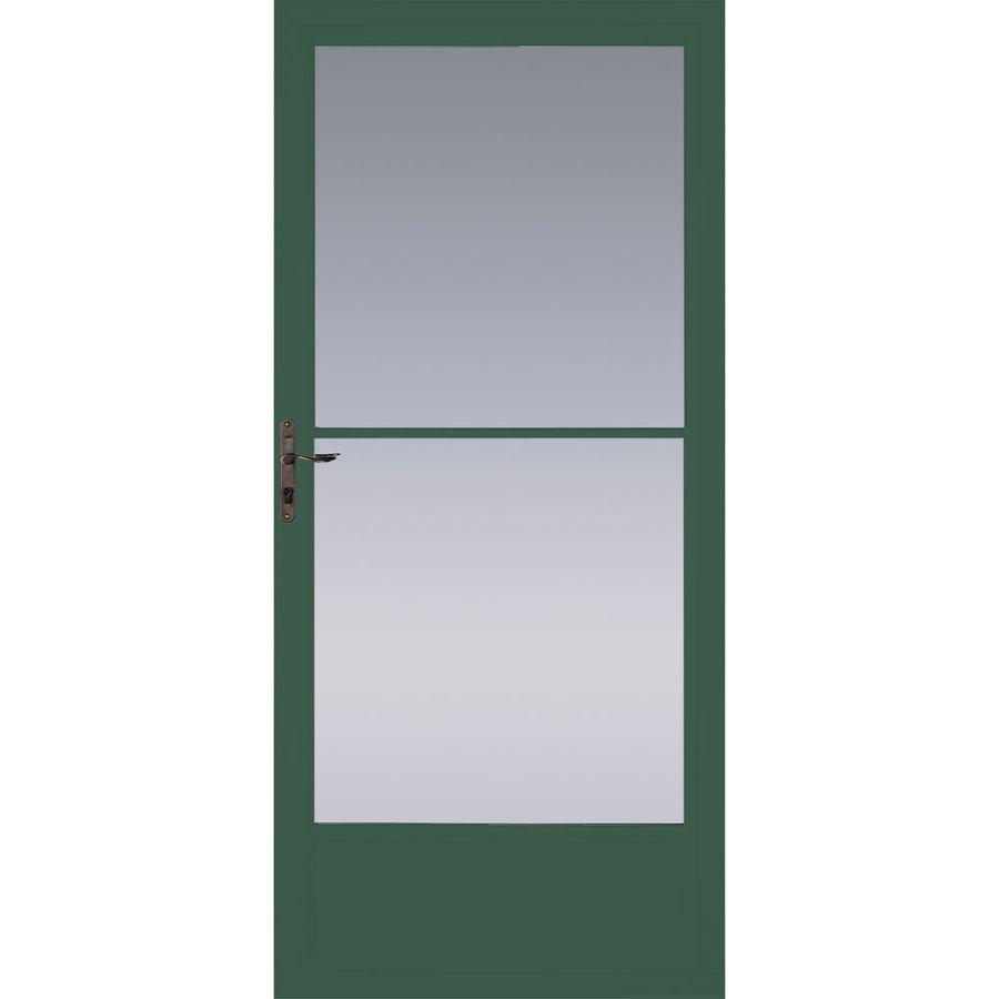 Pella Hartford Green Mid View Tempered Glass Retractable Aluminum